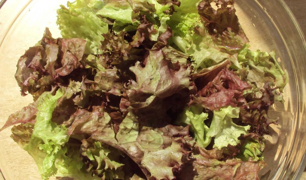 куски листьев салата