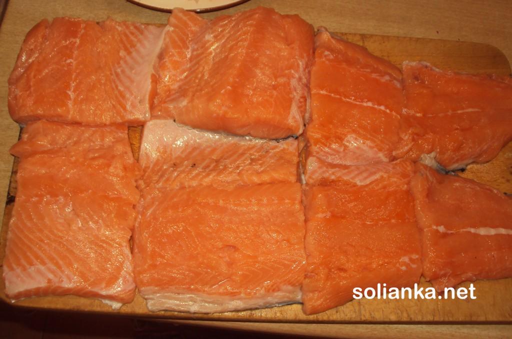 филе красной рыбы на засолку