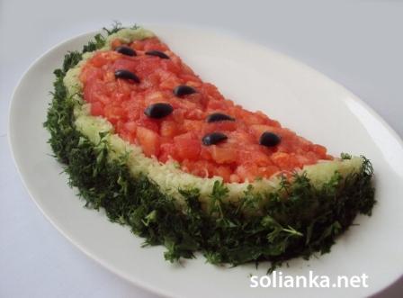 рецепт салата арбузная долька