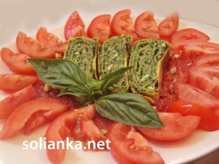 рецепт штруделя со шпинатом и помидорами
