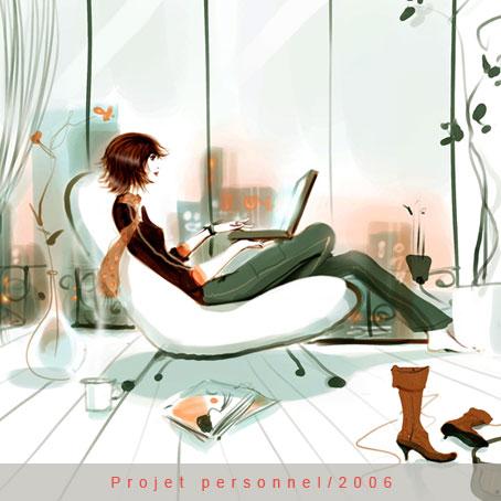 картинка девушка в кресле