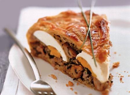 пирог с мясом с слоеного теста
