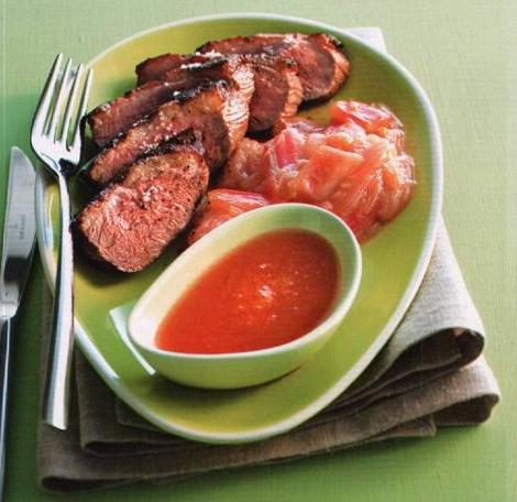 блюдо из ревеня с мясом