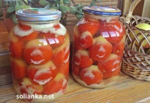 """Маринованные помидоры с чесноком на зиму """"под снегом"""""""