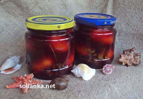 сладкие помидоры на зиму в красном вине
