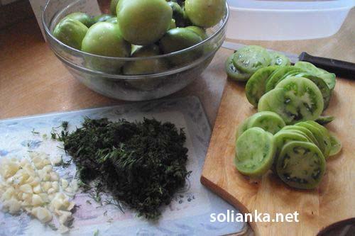 зеленые помидоры кружочками