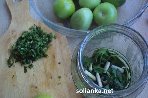 начало засолки зеленых помидор